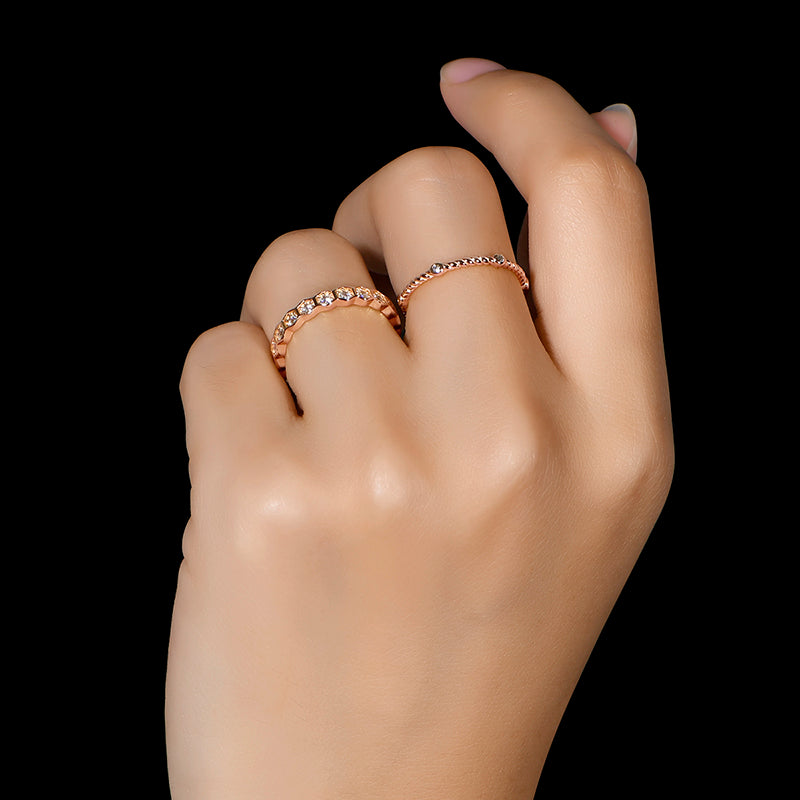 Honeycomb Eternity Stackable Ring Set