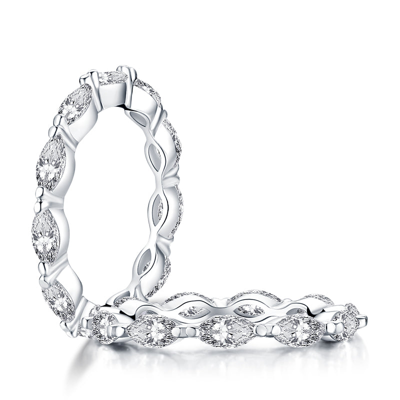 Marquise Cut Created White Diamond Eternity Band Ring