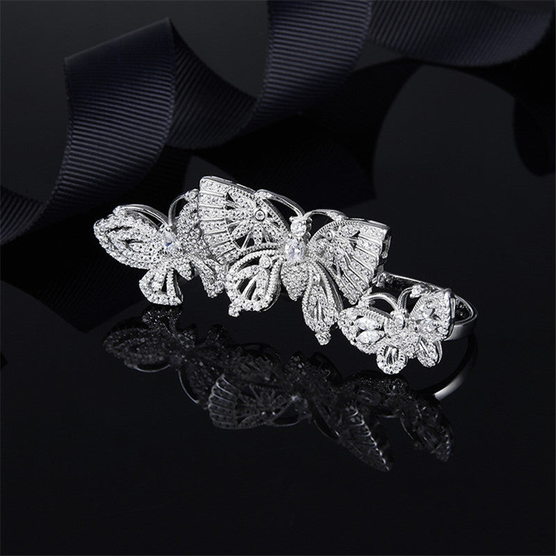 S925 Sterling Silver Created Diamond Three Finger Ring Butterfly Ring