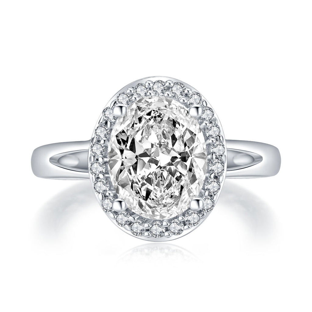 Halo Oval White Created Diamond Ring