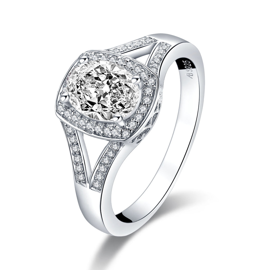Oval White Created Diamond Halo Ring