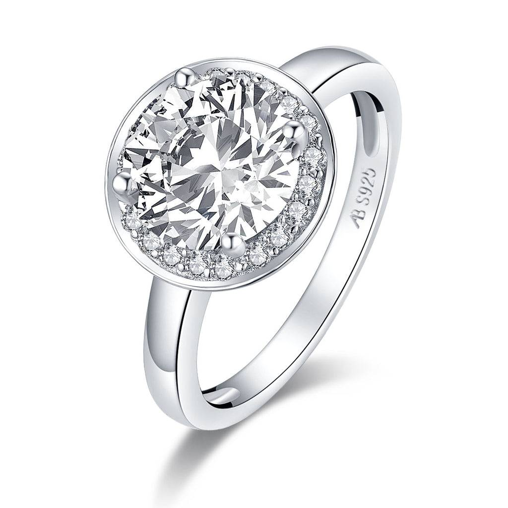 Halo Round White Created Diamond Ring