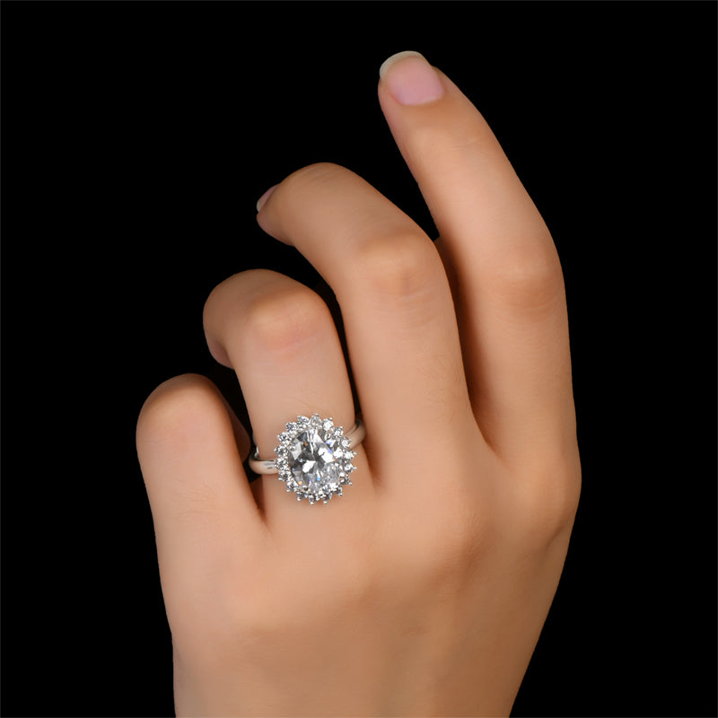 oval halo created white diamond Ring