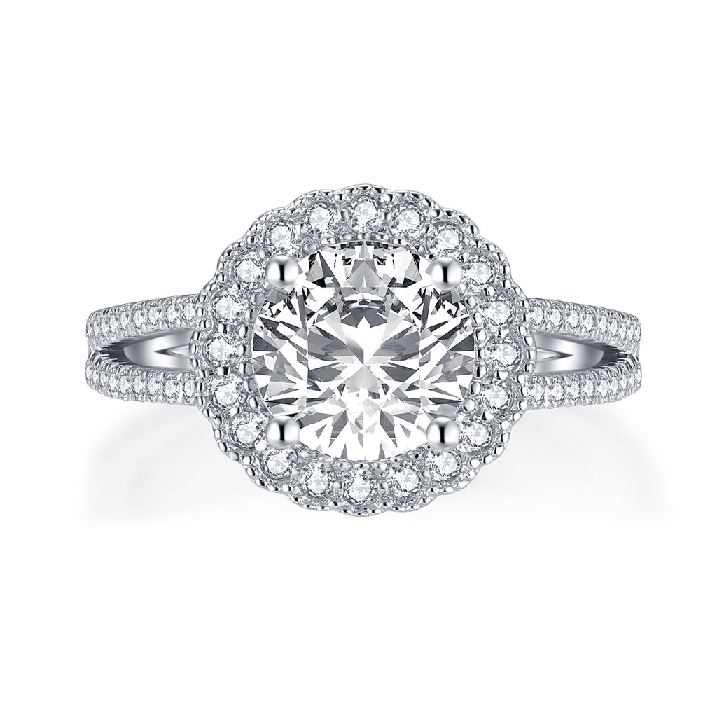 Vintage Round Created White Diamond Halo Ring