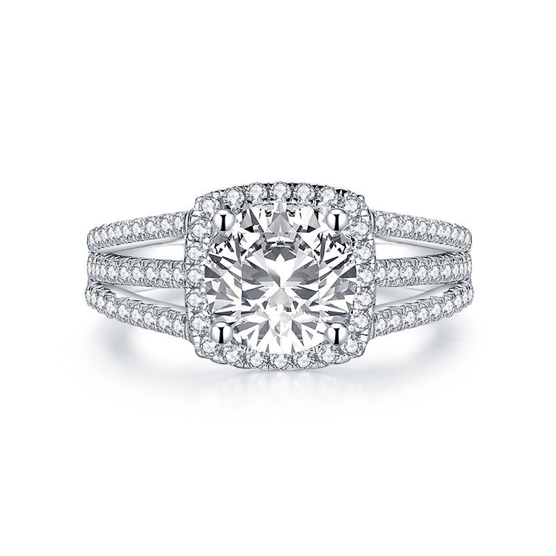 Round Created White Diamond Halo Ring