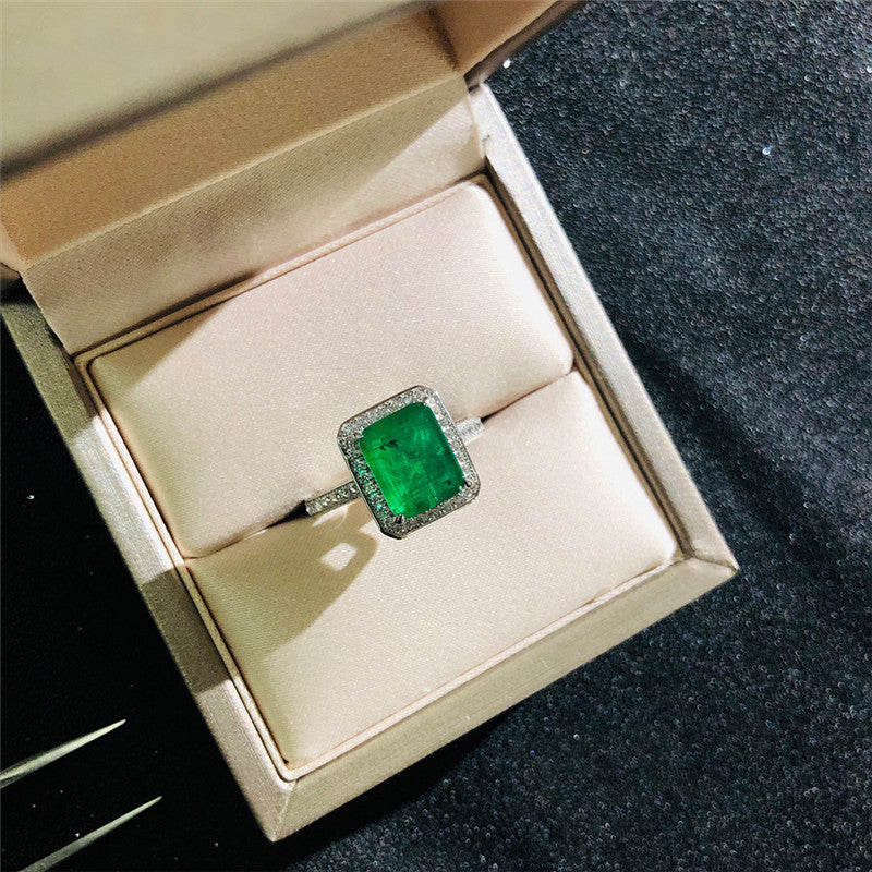 Vintage Green Square Created Diamond Halo Ring