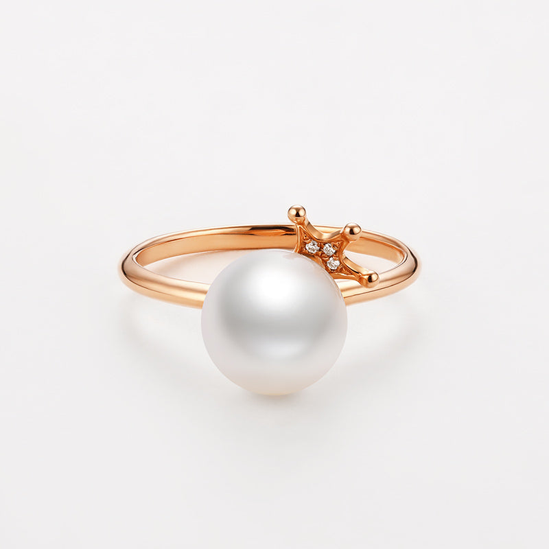 18K Rose Gold Diamond Freshwater Pearl Ring