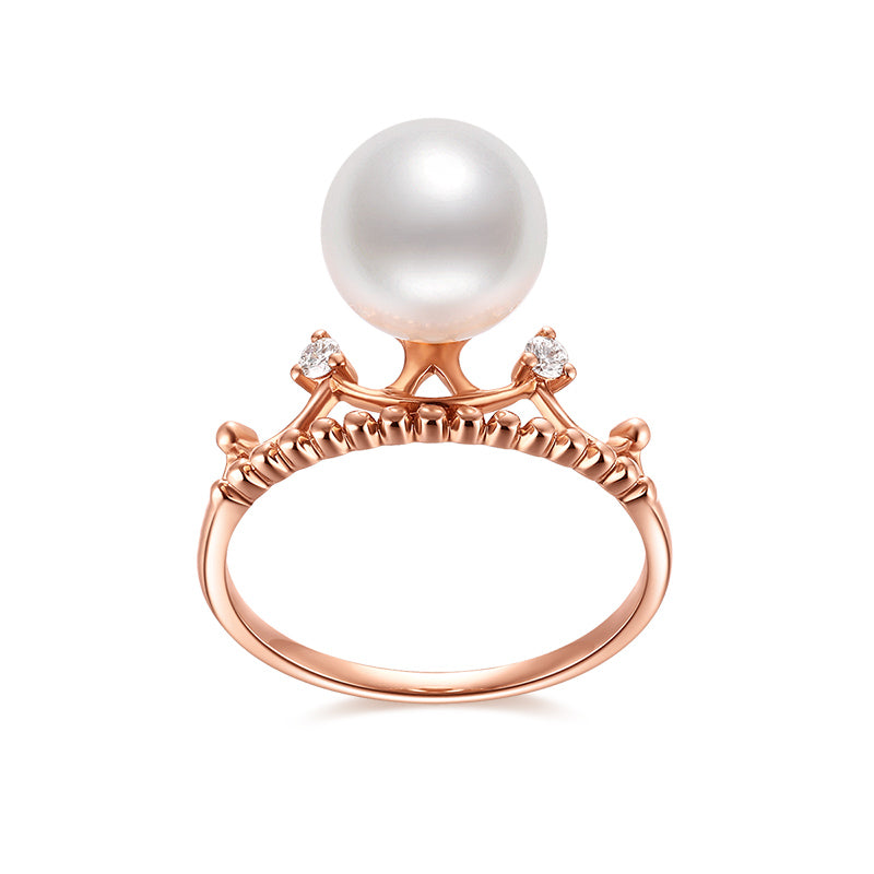 18K Rose Gold Crown Diamond Freshwater White Pearl Ring