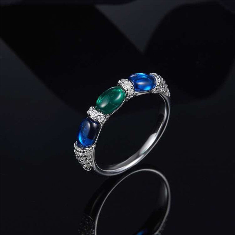 S925 High-end Micro Inlaid Diamond Blue Green Candy Ring