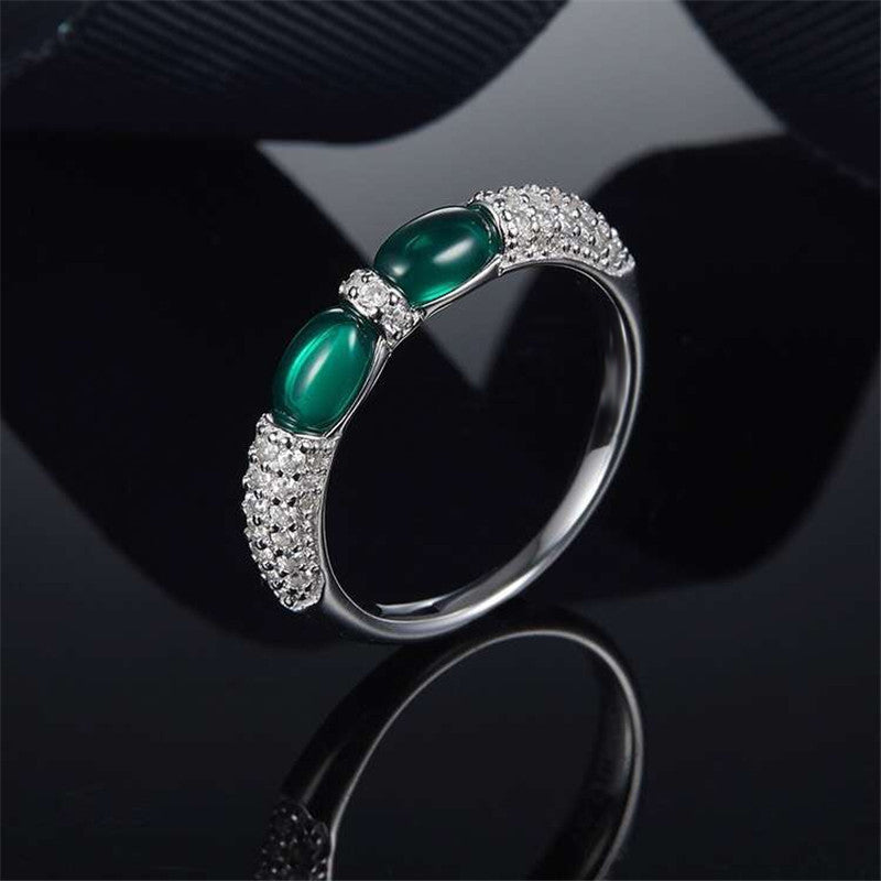 Oval Created Diamond Green Double Candy Ring