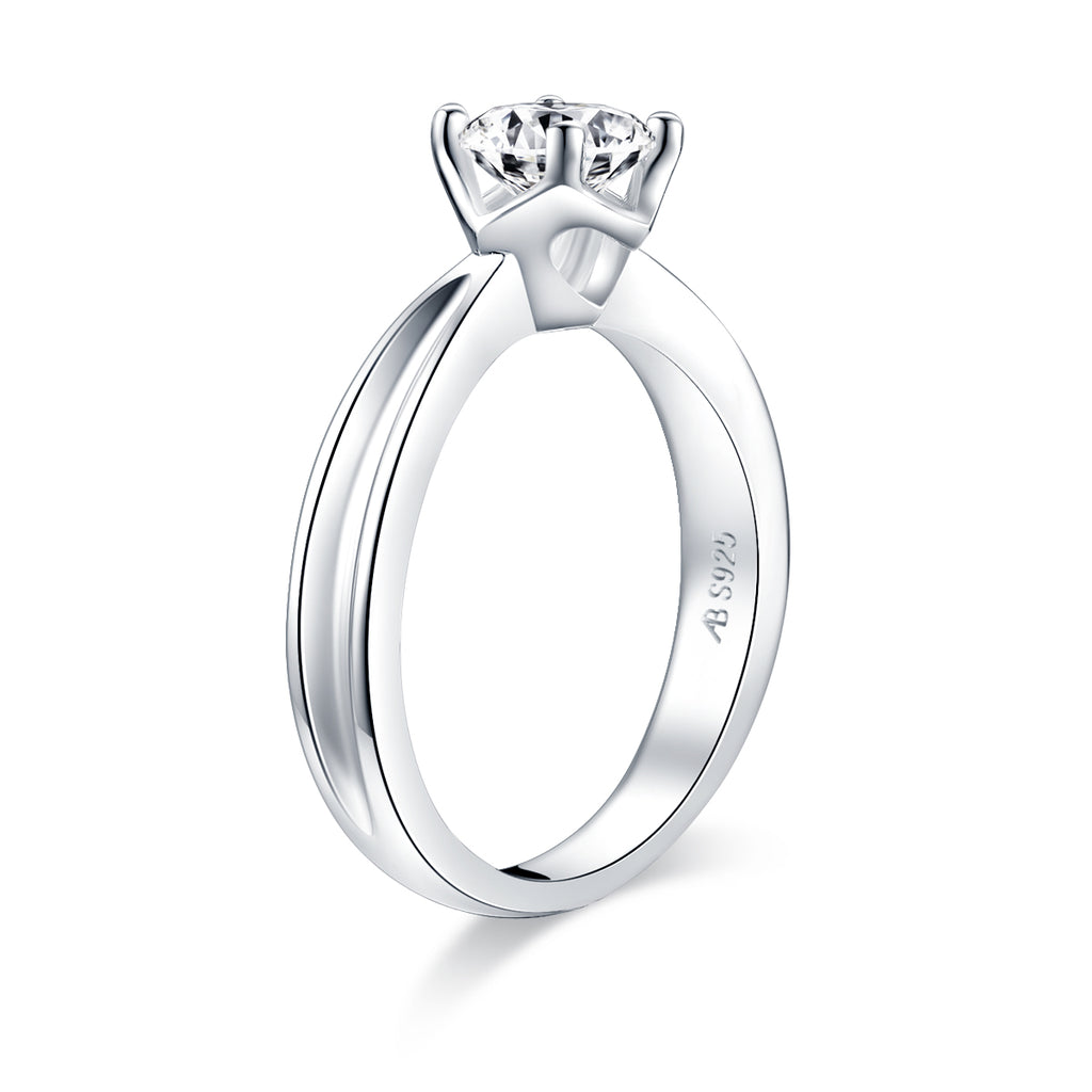 Solitaire Round Created White Diamond Ring