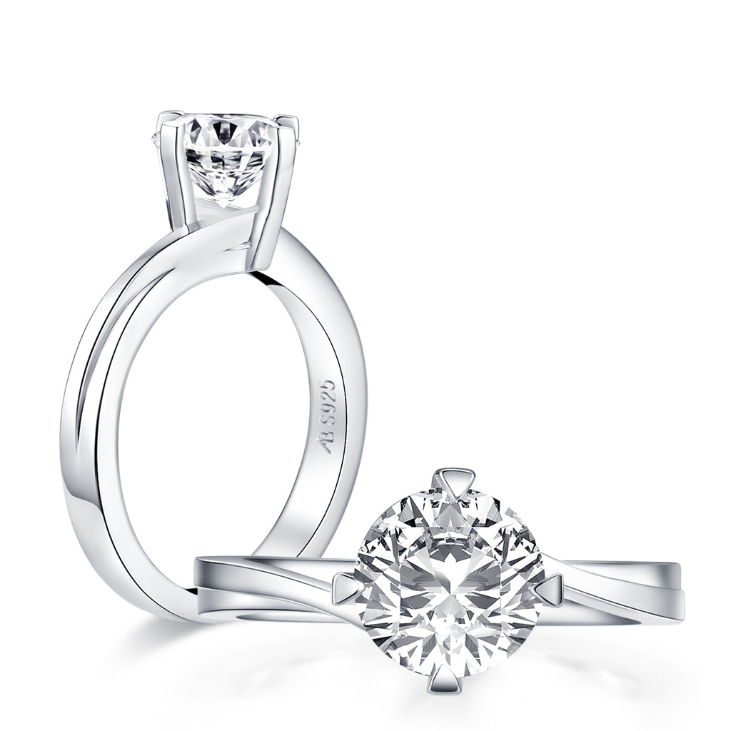 Twist Round Created White Diamond Solitaire Ring