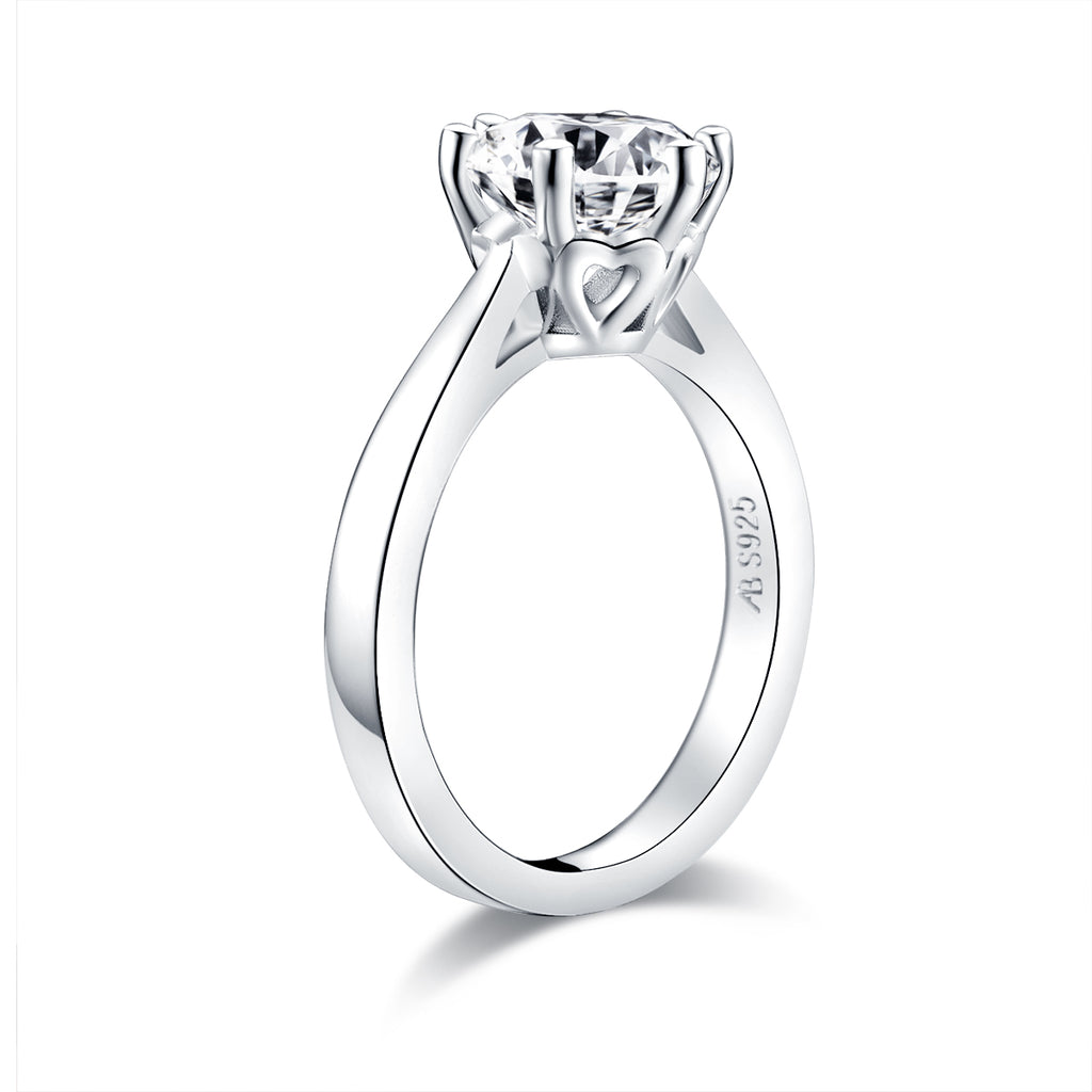 Solitaire Round Created Diamond Ring