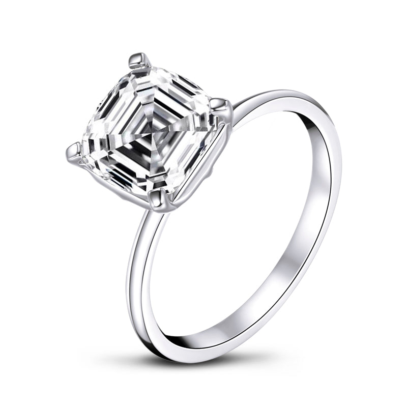 Solitaire Asscher Cut Moissanite Diamond Ring