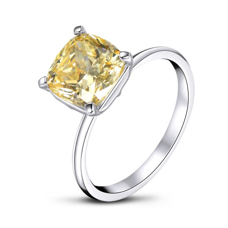 Yellow Color Cushion Created Sapphire Solitaire Ring