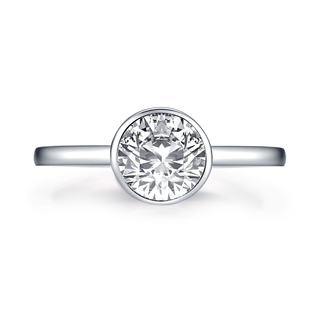 Created White Diamond Round Solitaire Ring