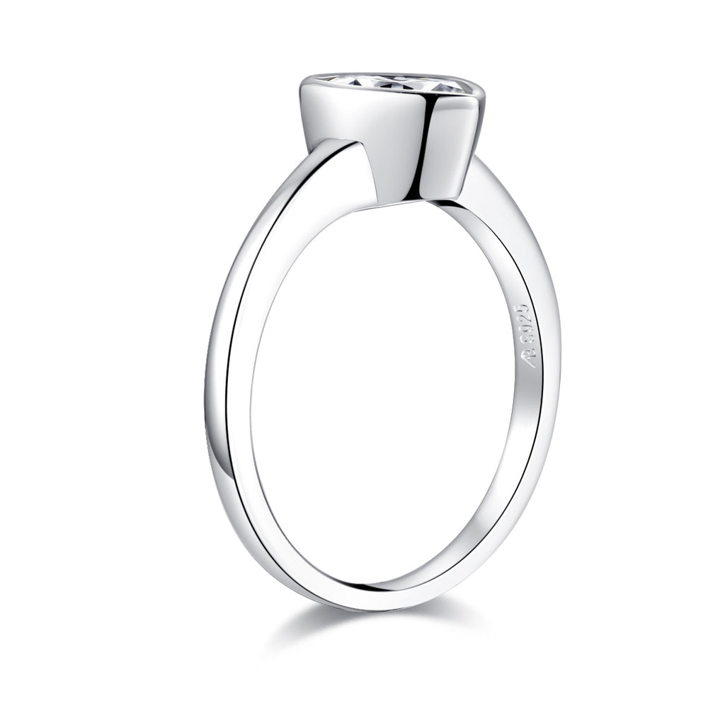 Created White Diamond Pear Shaped Solitaire Ring