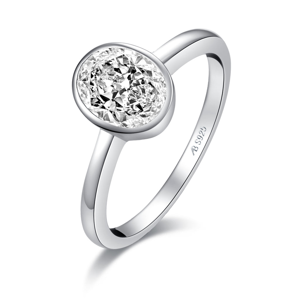 White Created Diamond Oval Solitaire Ring