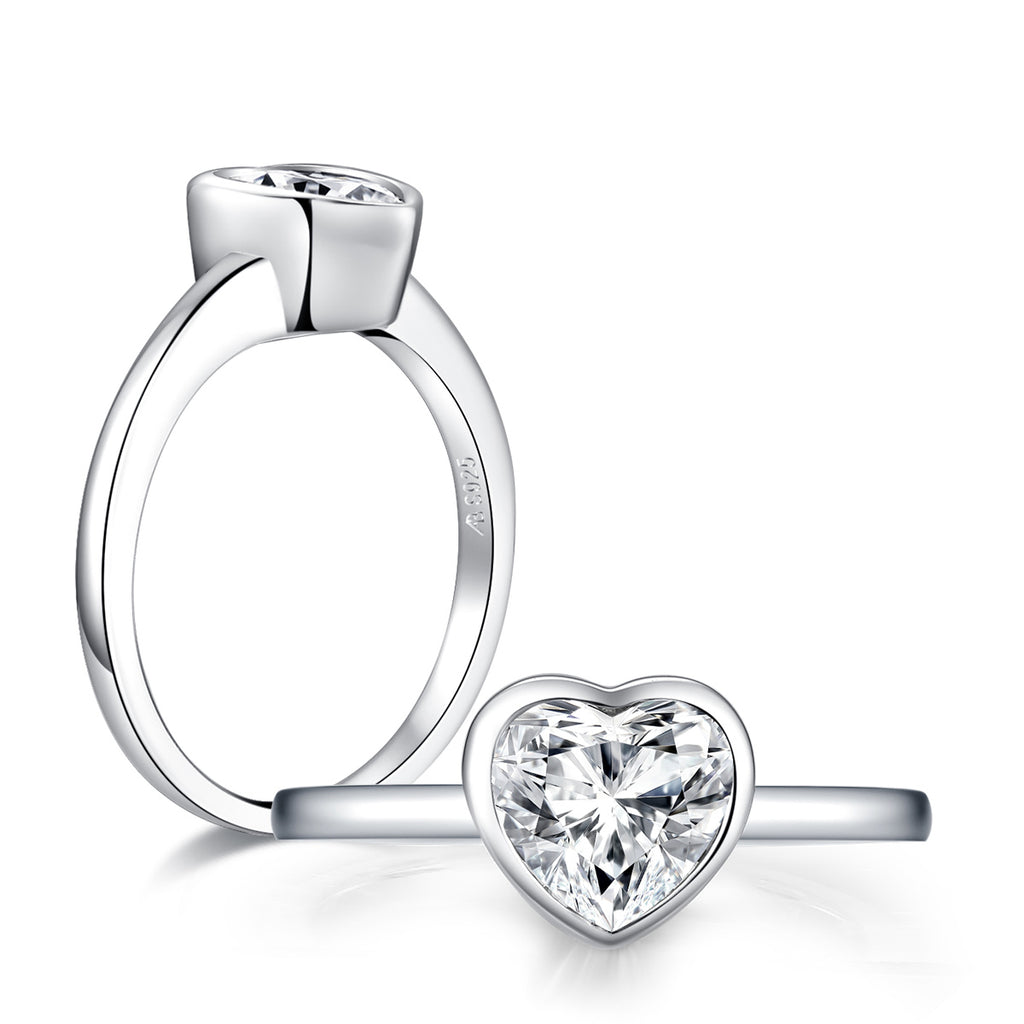 Created White Diamond Heart Shape Solitaire Ring