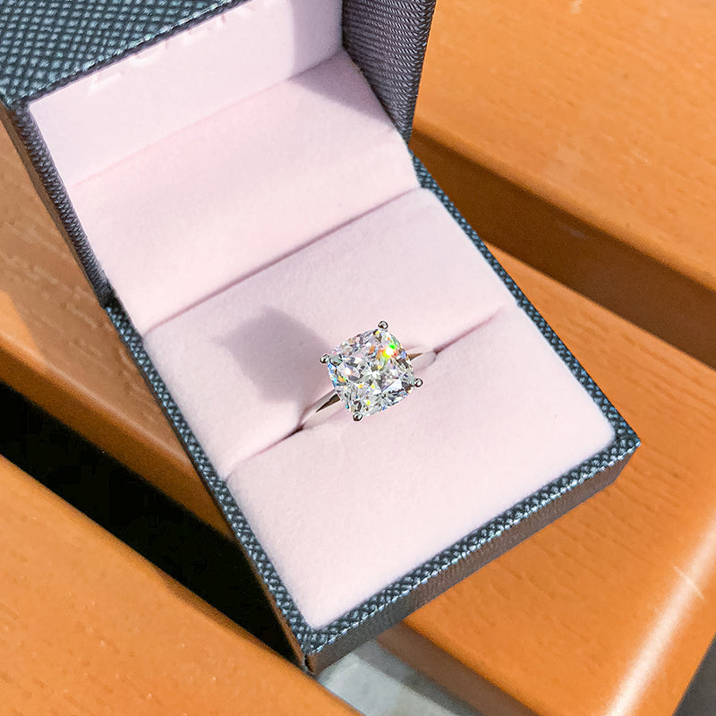 Cushion White Created Diamond Solitaire Ring