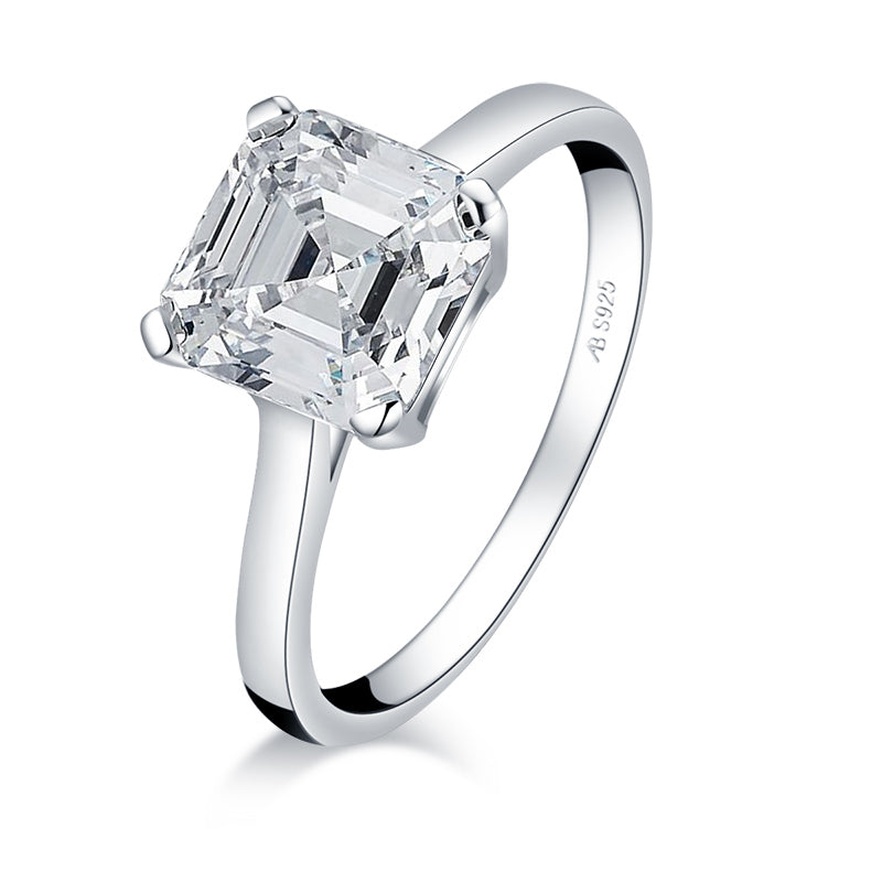 Asscher Cut White Created Diamond Ring