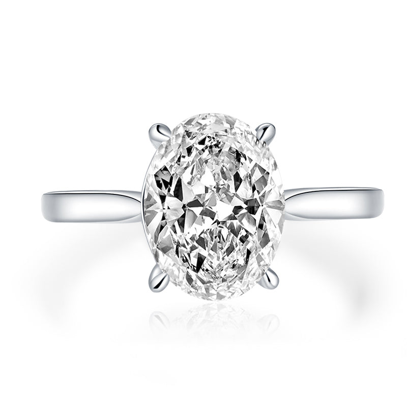 Oval Cut Moissanite Diamond Solitaire Ring