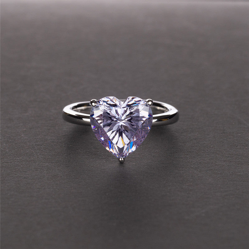 Heart Shape Created Diamond Solitaire Ring