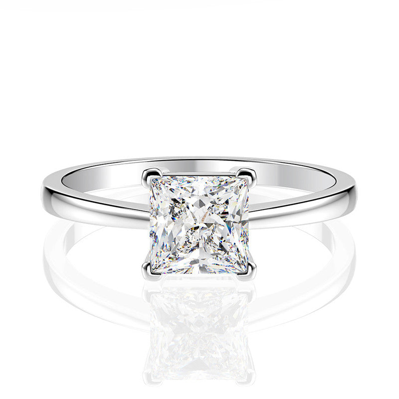Sterling silver Princess Cut Created Diamond Solitaire Ring