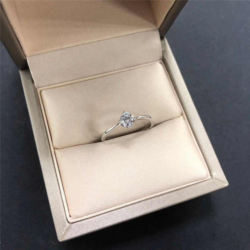 Sterling Silver Round Created Diamond Solitaire Ring