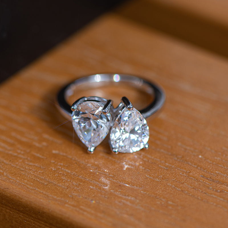 Double Pear Created White Diamond Ring