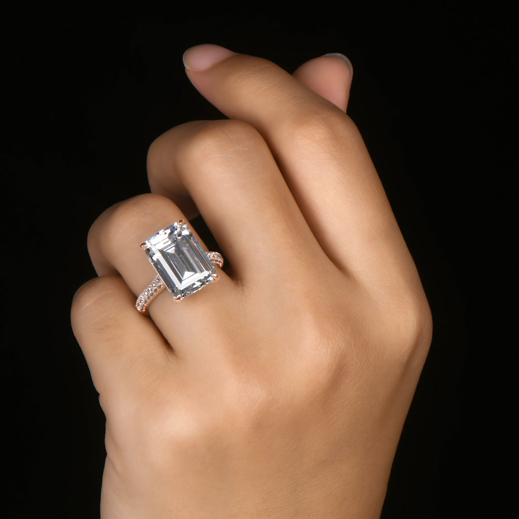 Rose Gold Hidden Halo Emerald Cut Created White Diamond Ring
