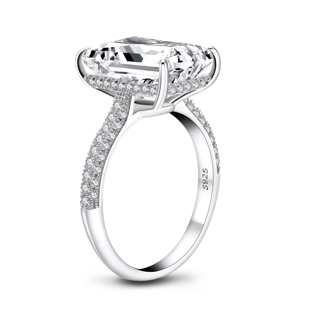 Luxury Hidden Halo Emerald Cut Created White Diamond Ring
