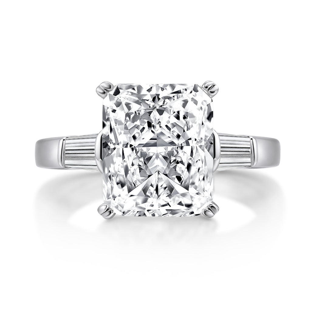 Radiant Created White Diamond Bagutte Three Stone Ring