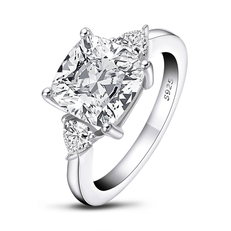 Luxury 5CT Cushion Cut Moissanite Diamond three Stone Ring