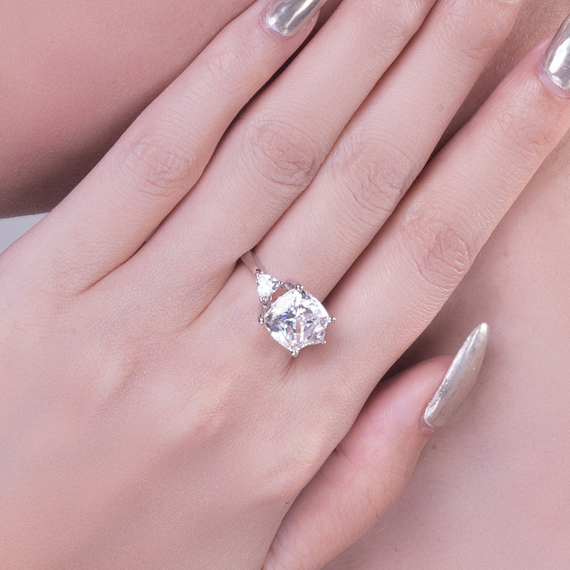 Cushion Cut Created White Diamond 3-Stone Ring