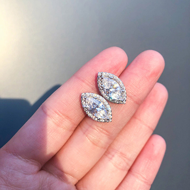 Halo Marquise Created White Diamond Stud Earrings