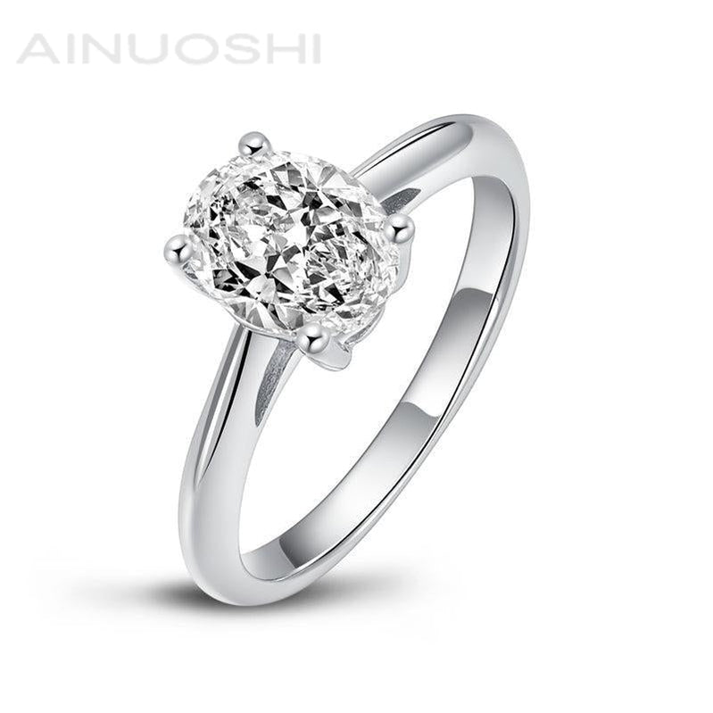Classic Oval Solitaire Created White Diamond Ring
