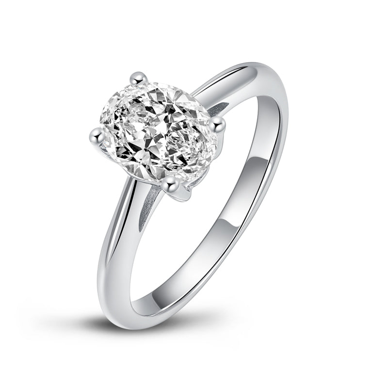 Classic Oval Solitaire Moissanite Diamond Ring