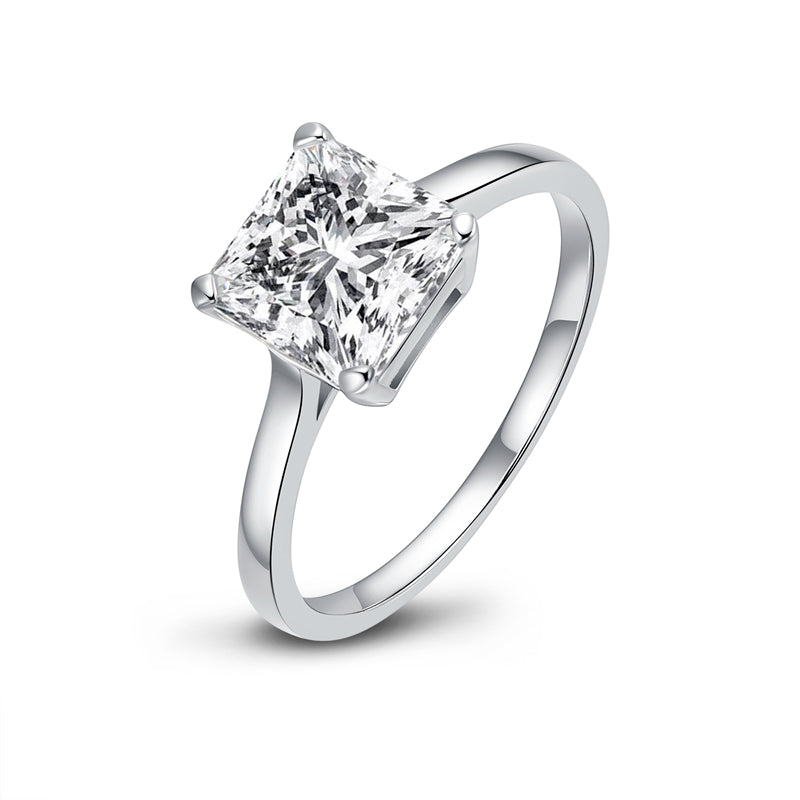 Solitaire Princess Cut Moissanite Diamond Ring