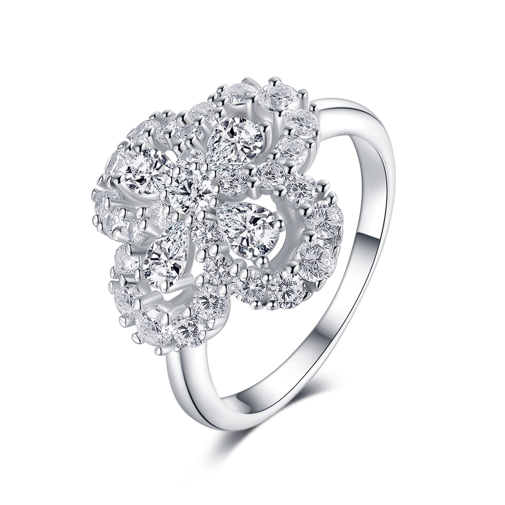 Floral Design Created White Diamond Ring