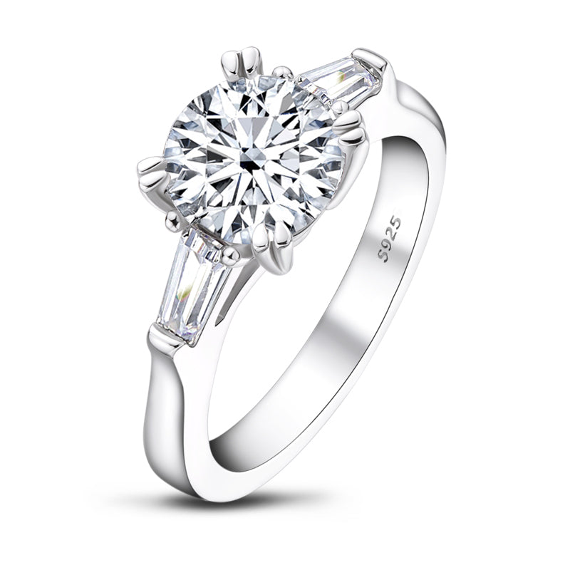 Classic Round Moissanite Diamond Double Prong 3 Stone Ring