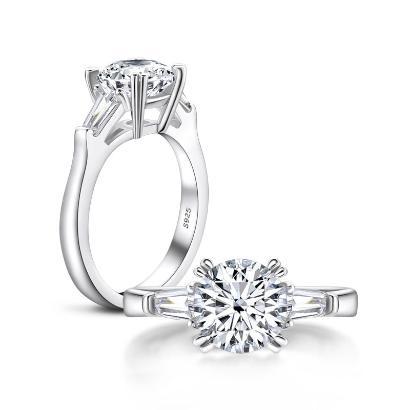 Classic Round Created Diamond Double Prong 3 Stone Ring