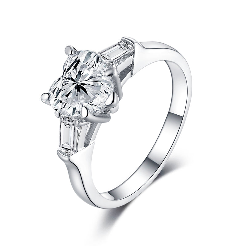 Three Stone Heart Shaped Moissanite Diamond Ring