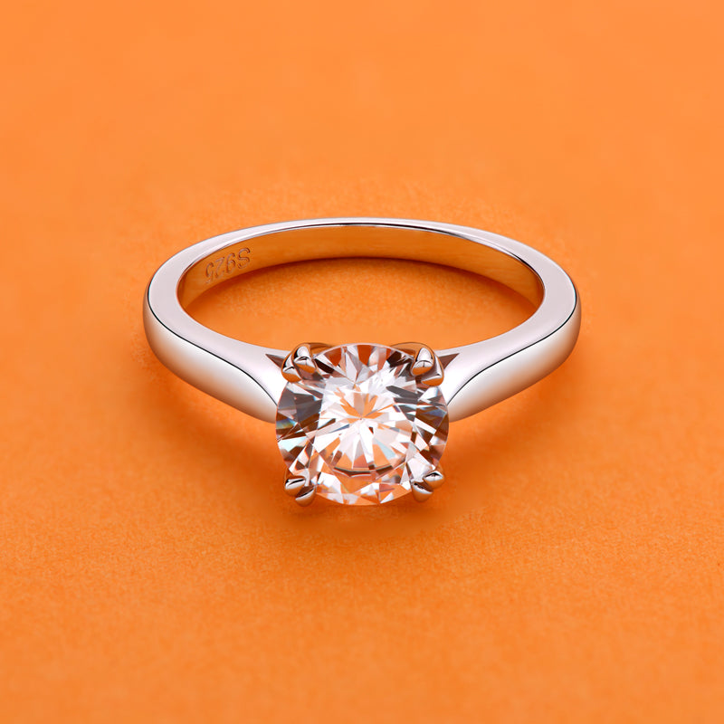 Round Natural Moissanite Diamond Solitaire Ring