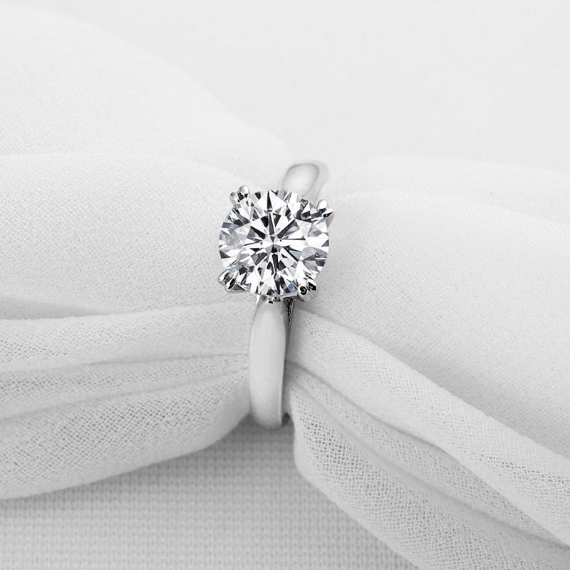 Round Created White Diamond Solitaire Ring