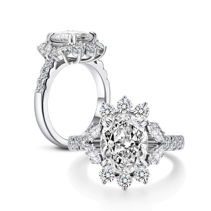 Flower Oval Created White Diamond Halo Ring