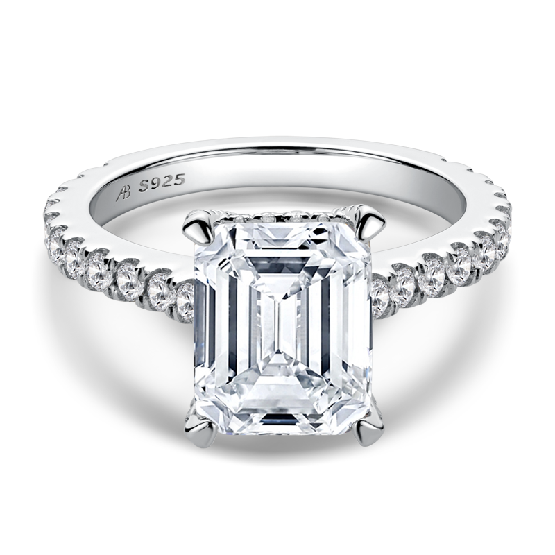 Luxury Hidden Halo Emerald Cut Moissanite Diamond Ring