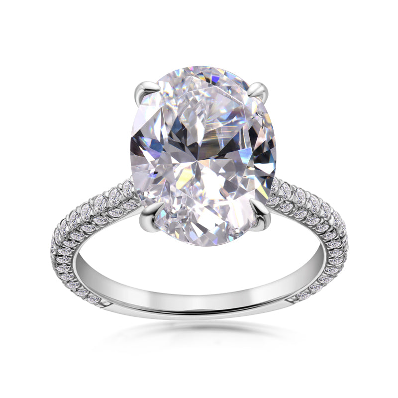Luxury Oval Shaped Created White Diamond Halo Ring