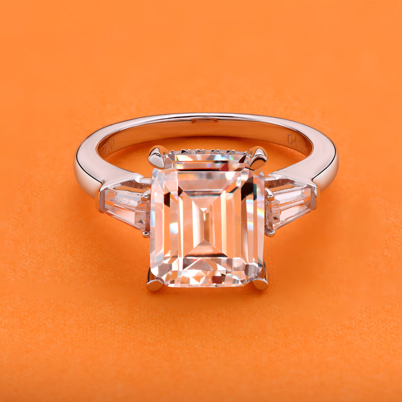 Emerald Cut Moissanite Diamond Three Stone Ring