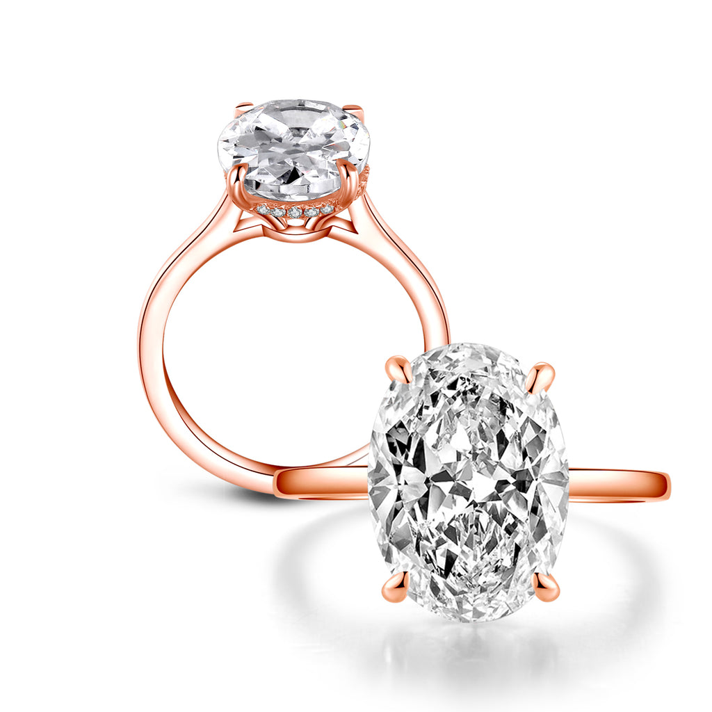 Rose Gold Oval Created White Diamond Ring